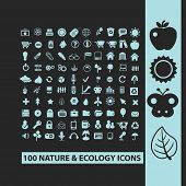 nature, ecology, environment black icons, signs, silhouettes, illustrations set. vector
