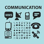 global communication black icons, signs, silhouettes, illustrations set. vector