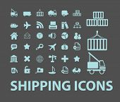 delivery, shipping, logistics black icons, signs, silhouettes, illustrations set. vector