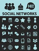social networks, blog black icons, signs, silhouettes, illustrations set. vector