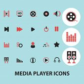 media player black isolated icons, signs, silhouettes, illustrations set, vector