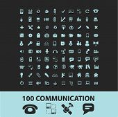 100 communication, connection, internet black icons, signs, silhouettes, illustrations set. vector