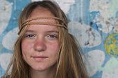 image of hippy  - Closeup portrait of young girl hippie - JPG