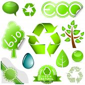 Set of environmental icons and labels isolated on white background.