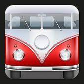 stock photo of camper-van  - Square Icon Popular hippie bus classic Camper Van - JPG