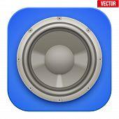 Realistic sound load Speaker icon.  Vector illustration.