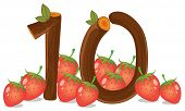 Illustration of the ten strawberries on a white background