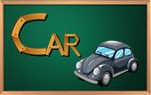Illustration of a blackboard with a car