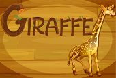 Illustration of a wooden frame with a giraffe