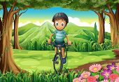 Illustration of a boy biking at the jungle