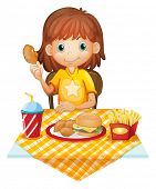 Illustration of a young girl eating at the fastfood restaurant on a white background