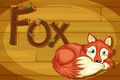 Illustration of a wooden frame with a fox
