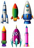 Illustration of the different rocket designs on a white background