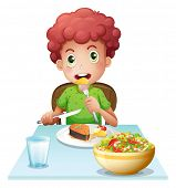 Illustration of a boy eating on a white background