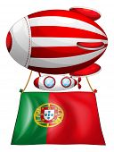 Illustration of the flag of Portugal and the floating balloon on a white background
