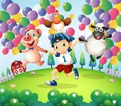 Illustration of a boy and his animals at the farm with floating balloons