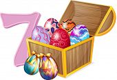 Illustration of the seven Easter eggs on a white background