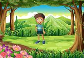 Illustration of a jungle with a smiling little boy