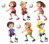 Illustration of the kids playing volleyball and football on a white background
