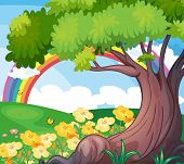 Illustration of a rainbow in the sky and the beautiful flowers
