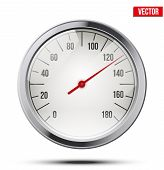 Classic round scale Speedometer. Vector Illustration.