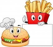 Mascot Illustration Featuring a Burger and a Pack of Fries Posing with a Blank Board