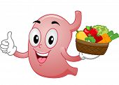Mascot Illustration Featuring a Stomach Carrying a Basket of Fruits and Vegetables
