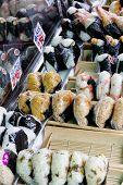Japan traditional rice ball at Tsukiji Fish Market, Tokyo