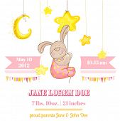 Baby Girl Arrival Card - with Baby Bunny and Stars - in vector