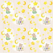 Baby Bear Seamless Pattern - for background, design, card, wallpaper, prints - in vector