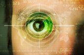 Modern man with cyber technology target military eye concept