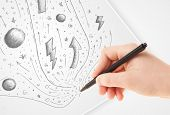 Hand drawing abstract sketches on a plain white paper