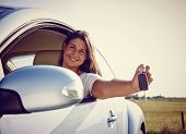Happy Young Car Woman Showing Car Keys