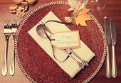 Happy Thanksgiving Table Setting with Retro Filter