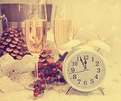 Happy New Year Champagne and Clock with retro filter