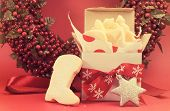 Christmas Gift Box Of Shortbread Biscuit Cookies With Festive Ornament Decorations Left Out For Sant