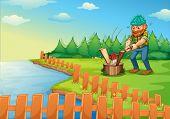 Illustration of a lumberjack chopping wood