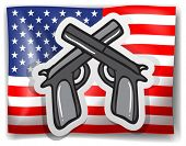 Illustration of an American flag and guns