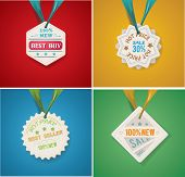Vector illustration of the sale badges set on blue ribbon
