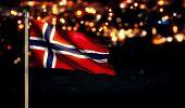 Norway Flag City Light Night Bokeh Background 3D