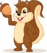 Squirrel Mascot Holding Nut