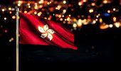 Hongkong National Flag City Light Night Bokeh Background 3D
