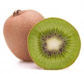 Sliced kiwi fruit half isolated on white background cutout