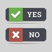 Yes And No Button With Check And Cross Icons In Flat Style.