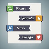 Ribbons On Paper Or Banner With Slogan Discount, Guarantee, Service And Best Offer And Icons.