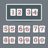 Flip Clock In Flat Style With All Flipping Numbers.