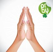 picture of divine mercy  - Vector Female Praying Hands Illustration With Green Sticker - JPG