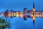 City port of Rostock by night