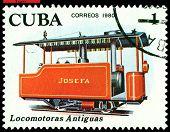 Vintage  Postage Stamp.  Antique  Josefa  Locomotive.