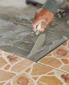 Handyman Laying Tile, Trowel With Mortar